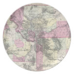 Vintage Map of Montana, Wyoming and Idaho (1884) Dinner Plate