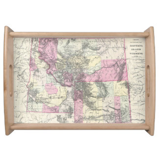 Vintage Map of Montana, Wyoming and Idaho (1884) Serving Tray