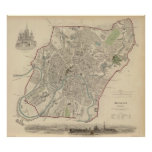 Vintage Map of Moscow (1836) Poster