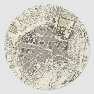 Vintage Map of Munich Germany (1832) Classic Round Sticker