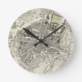 Vintage Map of Munich Germany (1832) Round Clock