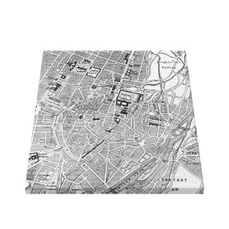 Vintage Map of Munich Germany (1884) Canvas Print