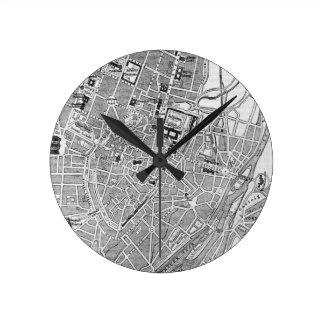 Vintage Map of Munich Germany (1884) Round Clock