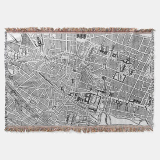 Vintage Map of Munich Germany (1884) Throw Blanket