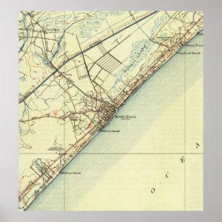 Vintage Map of Myrtle Beach South Carolina (1940) Poster