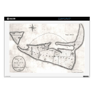 "Vintage Map of Nantucket (1782) 17"" Laptop Skin"