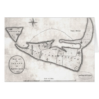 Vintage Map of Nantucket (1782) Greeting Card