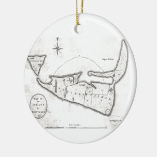 Vintage Map of Nantucket (1782) Double-Sided Ceramic Round Christmas Ornament