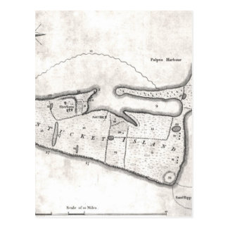 Vintage Map of Nantucket (1782) Postcard
