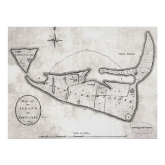 Vintage Map of Nantucket (1782) Posters