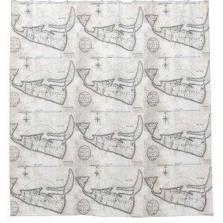 Vintage Map of Nantucket (1782) Shower Curtain