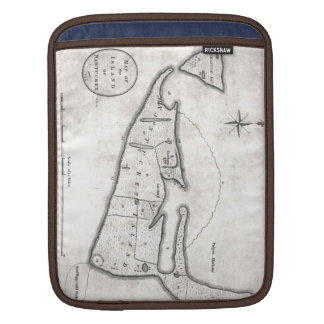 Vintage Map of Nantucket (1782) Sleeve For iPads