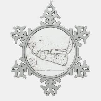 Vintage Map of Nantucket (1782) Snowflake Pewter Christmas Ornament