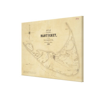 Vintage Map of Nantucket (1838) Canvas Print