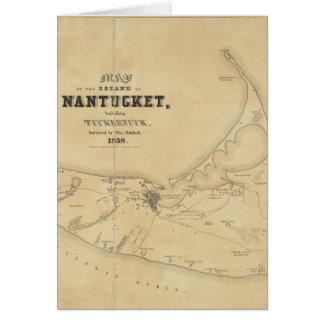 Vintage Map of Nantucket (1838) Greeting Card