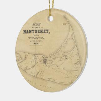 Vintage Map of Nantucket (1838) Ceramic Ornament