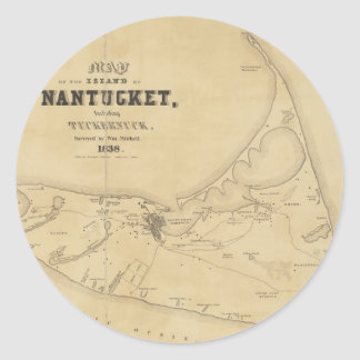 Vintage Map of Nantucket (1838) Classic Round Sticker