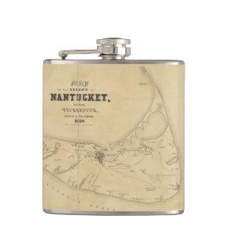 Vintage Map of Nantucket (1838) Flask