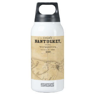 Vintage Map of Nantucket (1838) Insulated Water Bottle