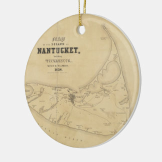 Vintage Map of Nantucket (1838) Double-Sided Ceramic Round Christmas Ornament