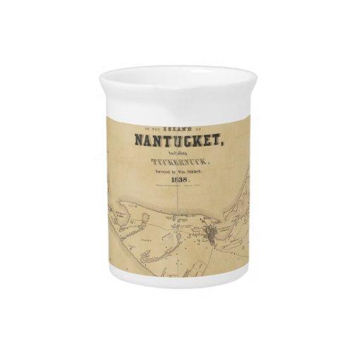 Vintage Map of Nantucket (1838) Drink Pitcher