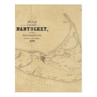 Vintage Map of Nantucket (1838) Postcard
