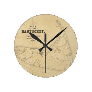 Vintage Map of Nantucket (1838) Round Clock