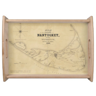 Vintage Map of Nantucket (1838) Serving Tray