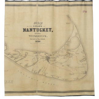 Vintage Map of Nantucket (1838) Shower Curtain