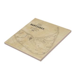 Vintage Map of Nantucket (1838) Small Square Tile