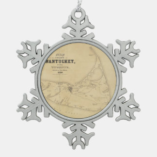 Vintage Map of Nantucket (1838) Snowflake Pewter Christmas Ornament