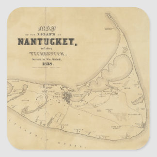 Vintage Map of Nantucket (1838) Square Sticker