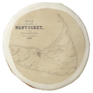 Vintage Map of Nantucket (1838) Sugar Cookie