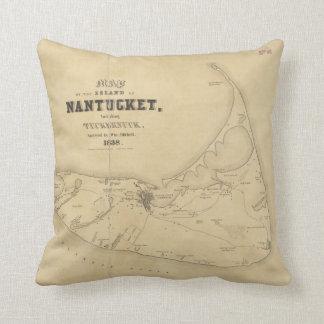 Vintage Map of Nantucket (1838) Throw Pillows