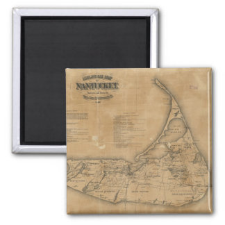 Vintage Map of Nantucket (1869) 2 Inch Square Magnet