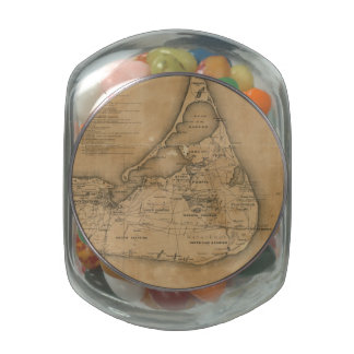 Vintage Map of Nantucket (1869) Jelly Belly Candy Jar