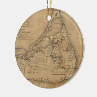 Vintage Map of Nantucket (1869) Ceramic Ornament