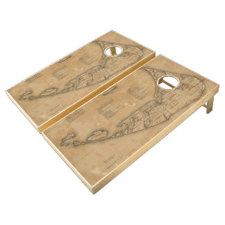 Vintage Map of Nantucket (1869) Cornhole Set