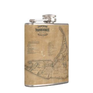 Vintage Map of Nantucket (1869) Hip Flask