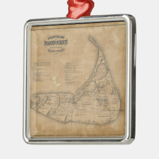 Vintage Map of Nantucket (1869) Square Metal Christmas Ornament