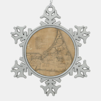 Vintage Map of Nantucket (1869) Snowflake Pewter Christmas Ornament