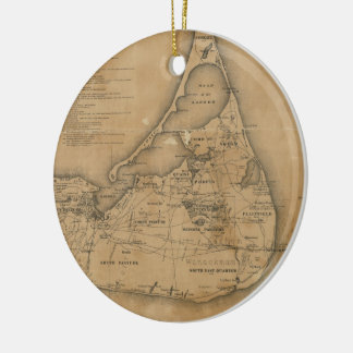 Vintage Map of Nantucket (1869) Double-Sided Ceramic Round Christmas Ornament