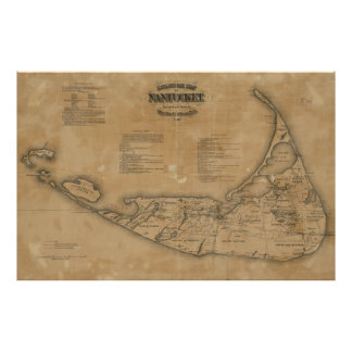 Vintage Map of Nantucket (1869) Poster