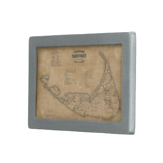 Vintage Map of Nantucket (1869) Rectangular Belt Buckle