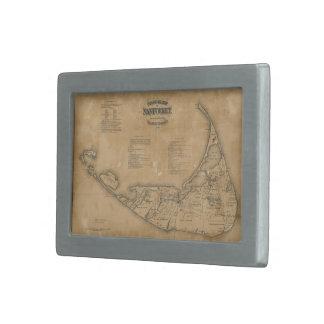 Vintage Map of Nantucket (1869) Rectangular Belt Buckle