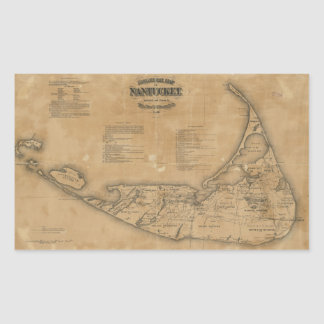 Vintage Map of Nantucket (1869) Rectangular Sticker