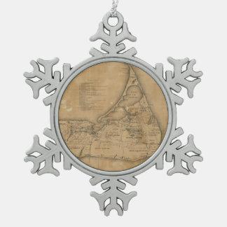 Vintage Map of Nantucket (1869) Snowflake Pewter Christmas Ornament