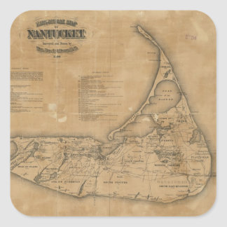 Vintage Map of Nantucket (1869) Square Sticker