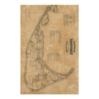 Vintage Map of Nantucket (1869) Stationery Paper