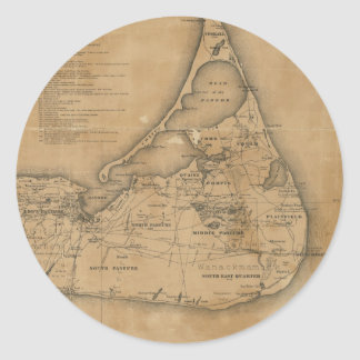 Vintage Map of Nantucket (1869) Classic Round Sticker